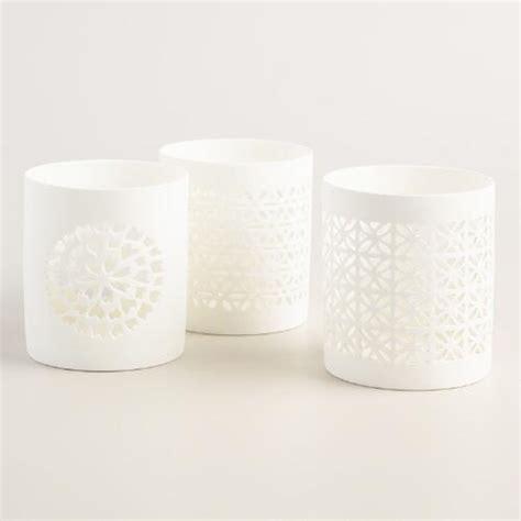 White Candle Holder Set by White Ceramic Cutout Candle Holder Set Of 3 World Market