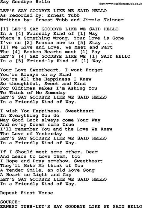 download mp3 too good at goodbyes lyrics say goodbye hello bluegrass lyrics with chords