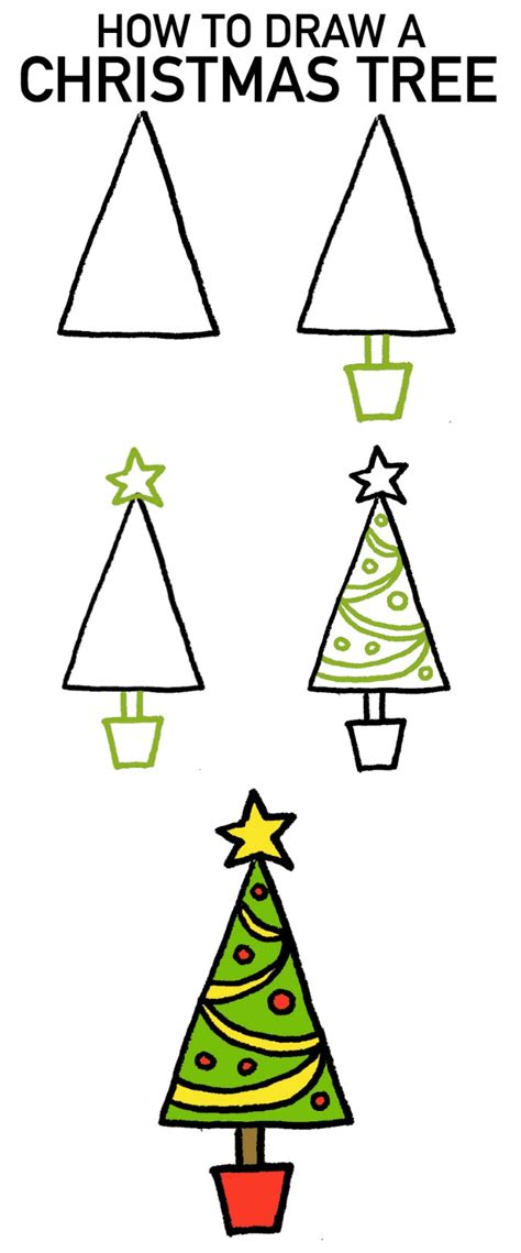 drawing step to step christmas decorations how to draw a tree 4 tutorials