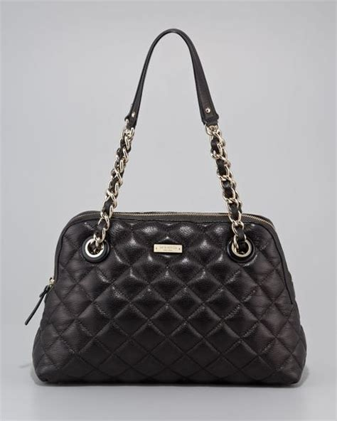 Kate Spade Black Quilted Purse kate spade leighton quilted leather bag in black lyst