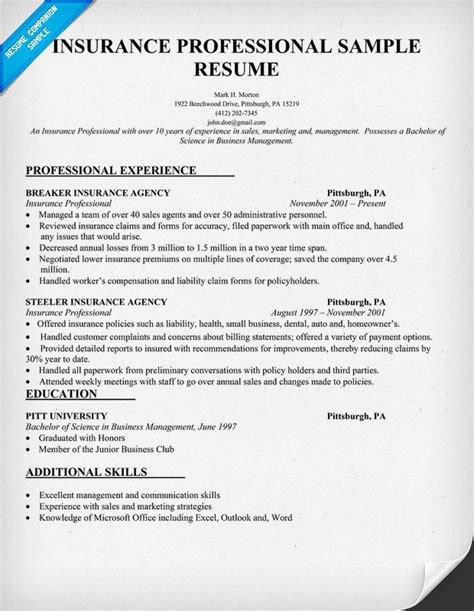 insurance resume exles insurance resume for insurance