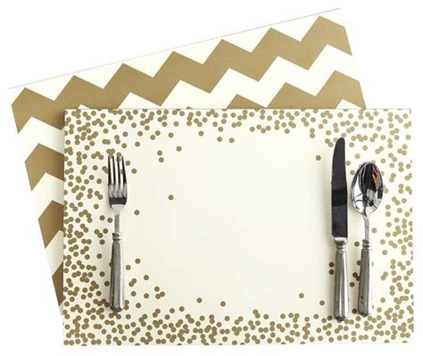 How To Make A Paper Placemat - gold chevron and confetti paper placemats contemporary
