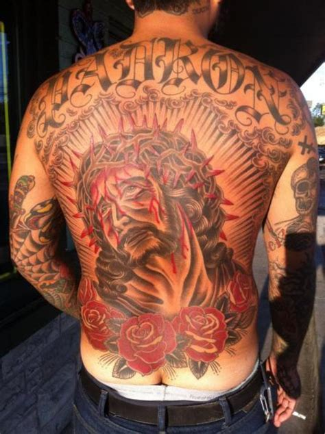 old back religious tattoo by rock of age
