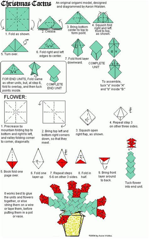 Origami Cactus - cactus origami diagram oregami origami