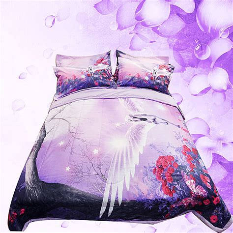 unicorn bedding 3d purple flowers unicorn bedding set summer quilt