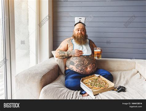 bbw on couch funny fat man drinking beer pizza image photo bigstock