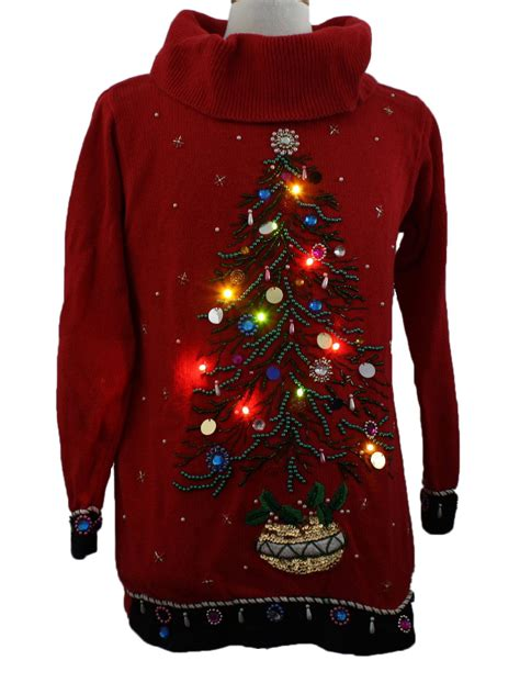 womens lightup ugly christmas sweater b p design