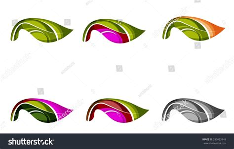 Company Creates Line Of Eco Set Abstract Eco Plant Icons Business Stock Illustration
