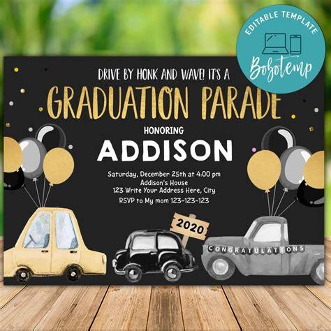 printable drive  graduation party invitation diy