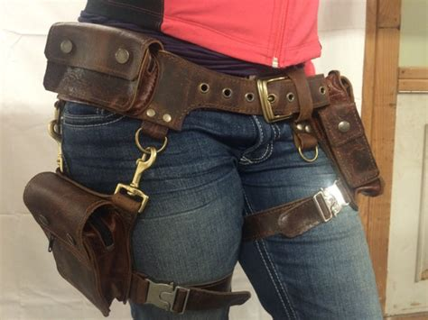 Handmade Leather Tool Belt - boudicca pocket belt with detachable leg holster burning