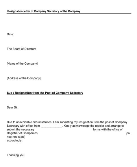 Resignation Letter In It Company by Sle Company Resignation Letter 7 Exles In Pdf Word