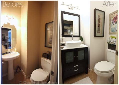 Bathroom Makeover Pictures Before And After Powder Bathroom Makeover Reveal Decorchick
