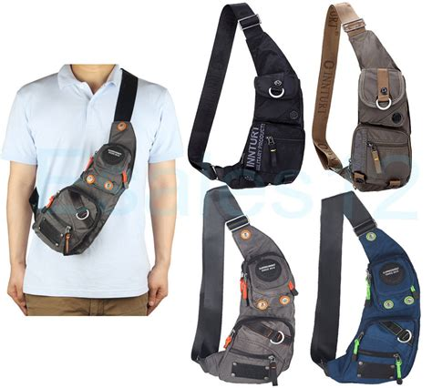 C772 Black Sling Bag innturt s s sling bag chest shoulder hiking bicycle bag backpack ebay
