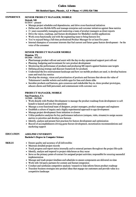 Mobile Resume by Product Manager Mobile Resume Sles Velvet