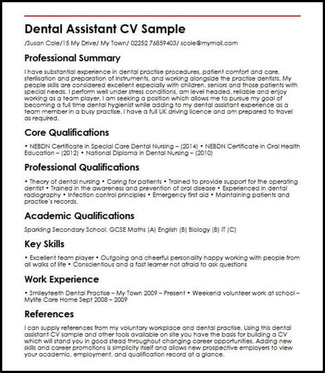 dentist cv sle uk dental assistant myperfectcv