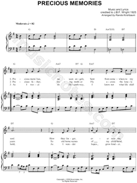 printable lyrics to precious memories hymn j b f wright quot precious memories quot sheet music download