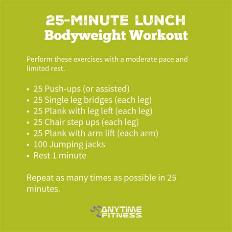 25 minute workout without weights programs