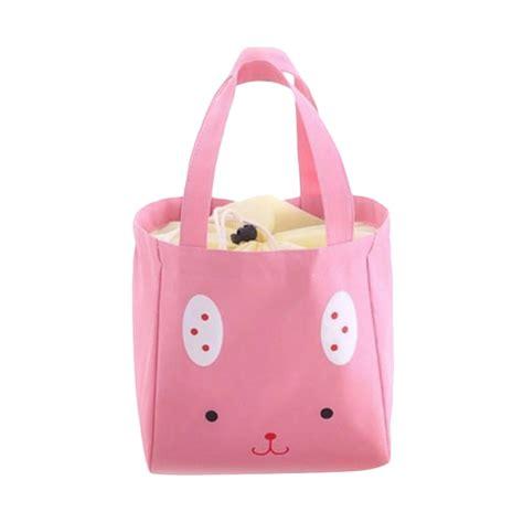 jual bellino serut thermal trio kelinci lunchbag pink