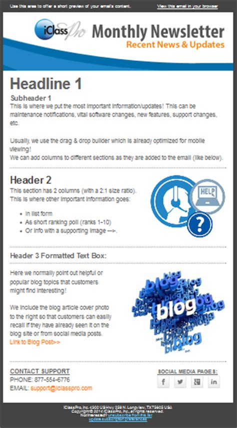 monthly email newsletter template the creating monthly newsletters with