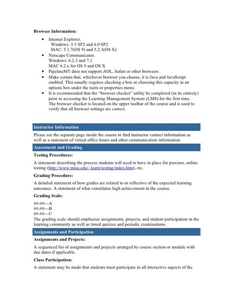 syllabus template course syllabus template