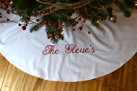 personalized christmas tree skirt white by satinstitchdesigns