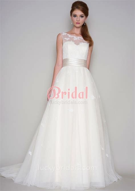 A Line Wedding Dresses by Ivory Tulle Illusion Neck A Line Sleeveless