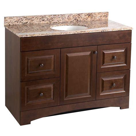full bath with vanity with granite top tile backsplash woodcrafters regency 49 in vanity in auburn with stone