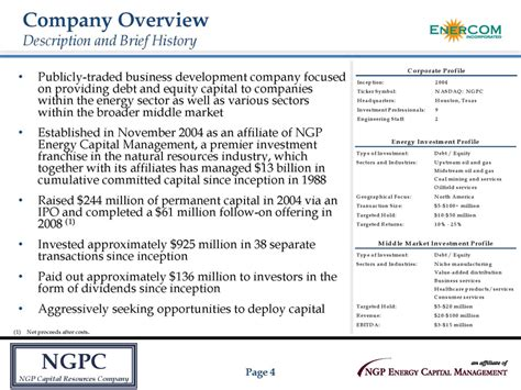 agenda ngpc ngp capital resources company page 3 company overview investment criteria financial