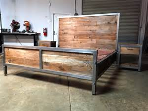 Reclaimed Wood Bed Frame Etsy Reclaimed Wood And Steel Bed