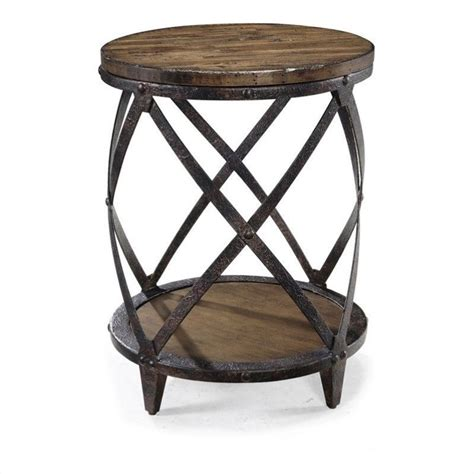accent end tables magnussen pinebrook round accent table in distressed pine