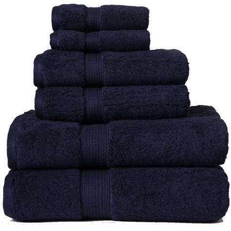 Navy Blue Towels Bathroom superior cotton 900 gsm 6 towel set navy