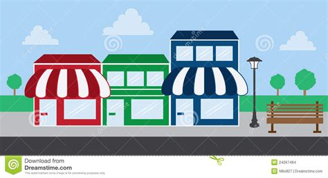 Door Awning Plans Store Front Strip Mall Stock Vector Illustration Of
