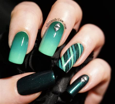 teal color nails gradient the adorned claw