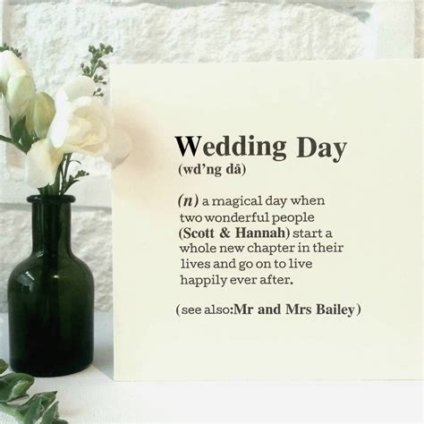 Wedding Definition by Personalised Wedding Day Definition Card By Betsy Jarvis