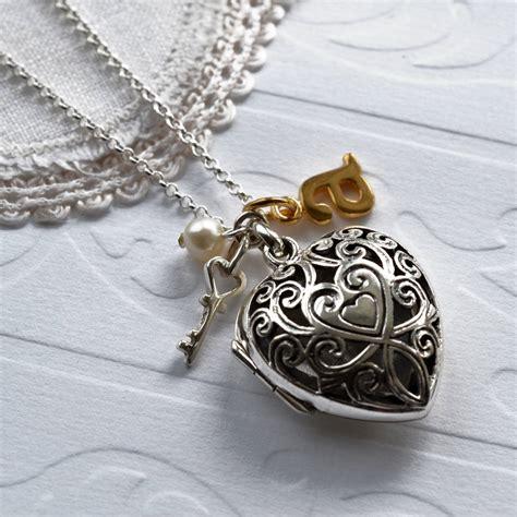 Silver Locket Key Necklace silver vintage locket necklace by martha jackson