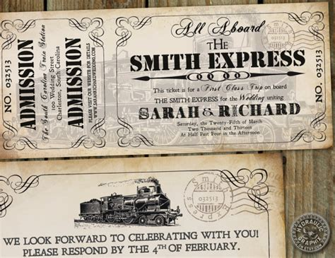 ticket to ride card template real weddings vintage themed wedding at the