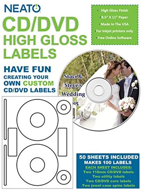 fellowes neato cd label template neato blank high gloss cd dvd labels clp 192372 100