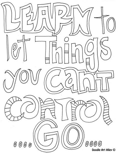 printable page of quotes learn to let go of things you can t control free coloring
