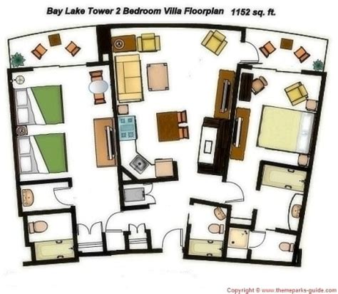 bay lake tower 2 bedroom floor plan bay lake tower at disney s contemporary resort 2 bedroom villa floor plan 1152 sq ft