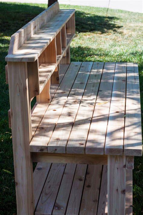 cedar potting bench plans cedar potting bench by tesla77 lumberjocks com