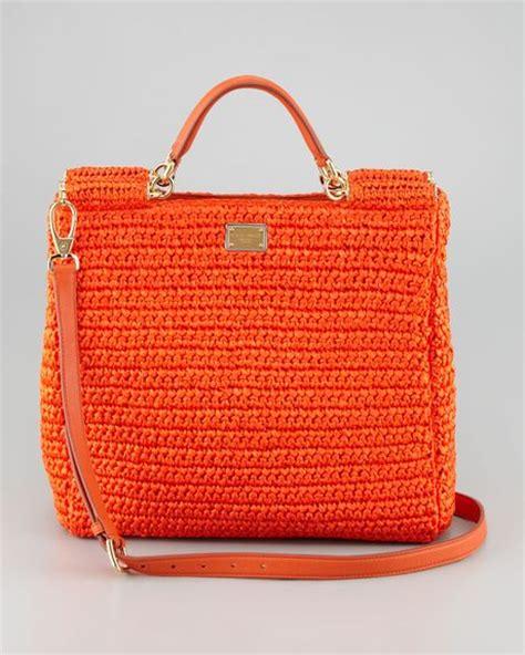 dolce gabbana new miss sicily crochet tote bag in orange