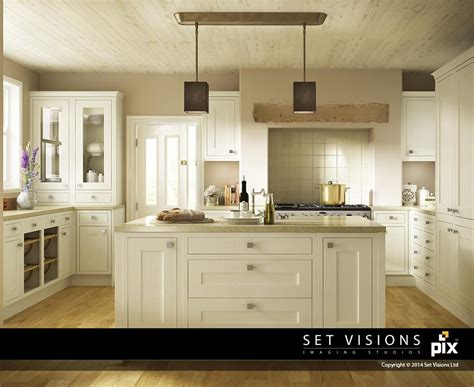 cream shaker kitchen cabinets cream shaker cgi kitchen with island room set by set