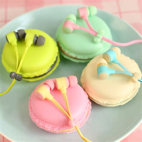 Headset Karakter Macarons 6 macarons design in ear earphones headphones headset for xiaomi samsung iphones