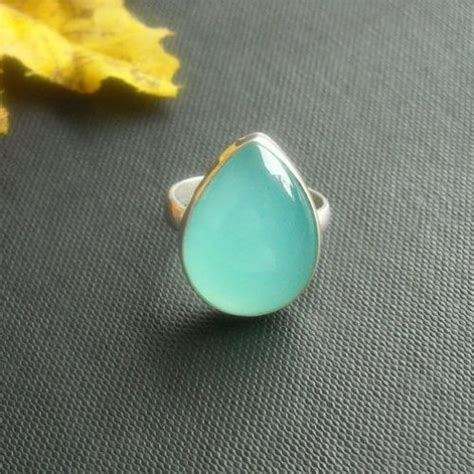 Buy Aqua blue chalcedony ring, Tear drop ring, Blue stone