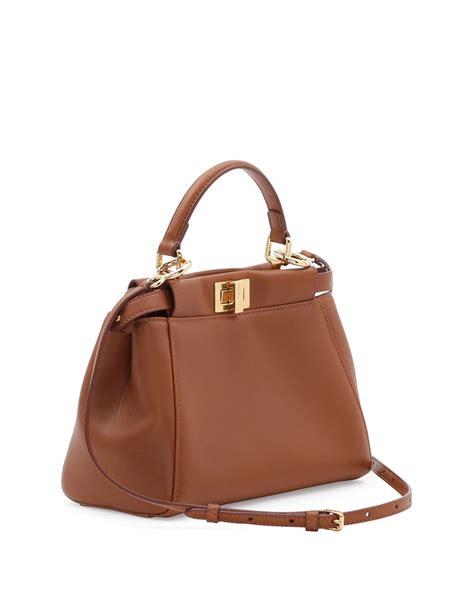 Fendi Bags by Fendi Peekaboo Mini Leather Satchel Bag In Brown Lyst