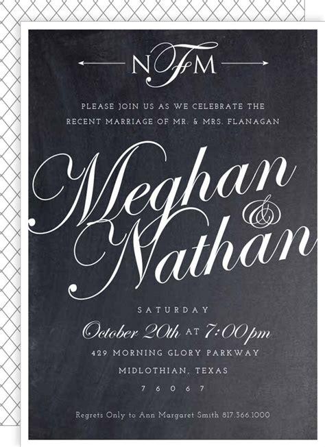 Wedding Reception Announcement Script post wedding reception invite chalkboard script from