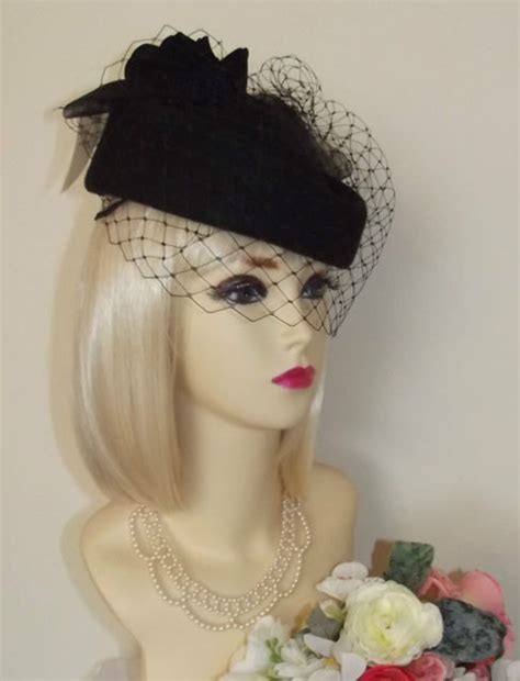 1940 S Vintage Wedding Hairstyles Top by New Vintage 1940s 50s Style Black Pillbox Veil Hat Races