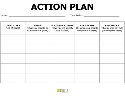 simple business action plan template with black colored