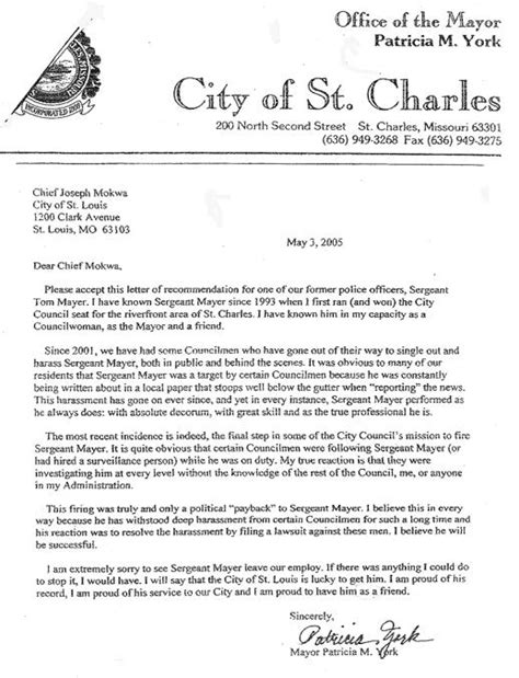 Endorsement Letter Mayor Capitol News Of St Charles Missouri Archives Sunday September 11 2005
