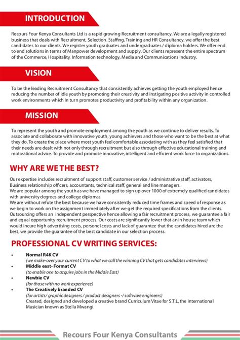Introduction Letter Manpower Consultancy Company Profile For Recours Four Kenya Consultants Ltd